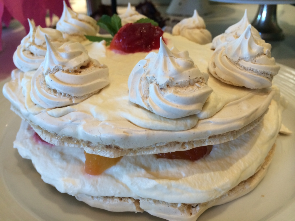 Cinnamon Meringue with Poached Plums