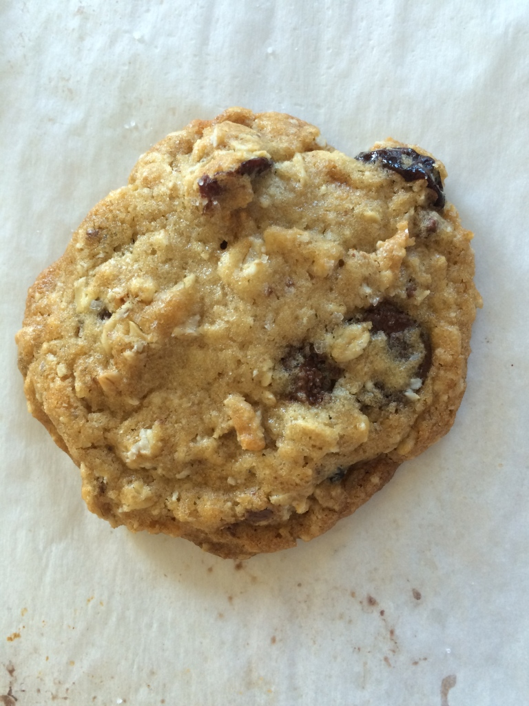 chewy cherry chocolate oatmeal cookie close-up